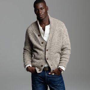 J. Crew Men's Wool Shawl Neck Button Cardigan Tan